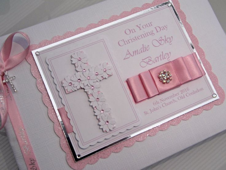 Beautiful handcrafted personalised Christening guest book complete with presentation gift box Individually handcrafted and personalised with your