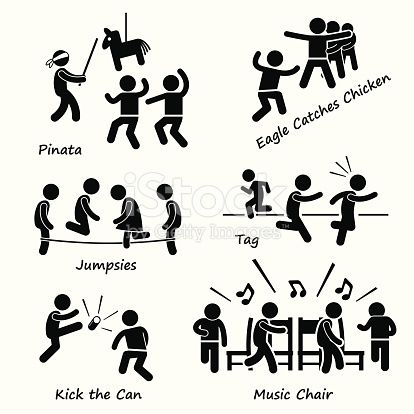 A set of human pictogram representing children playing traditional games which include pinata, eagle catches chicken, jumpsies, tag cop and robber, kick the can, and musical chairs.