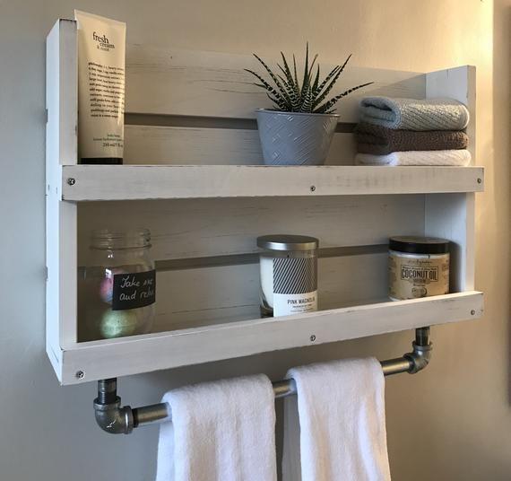 Bathroom Shelf With Towel Bar White Distressed Wood Shelf Etsy Wall Mounted Bathroom Storage Shelves Bathroom Wood Shelves