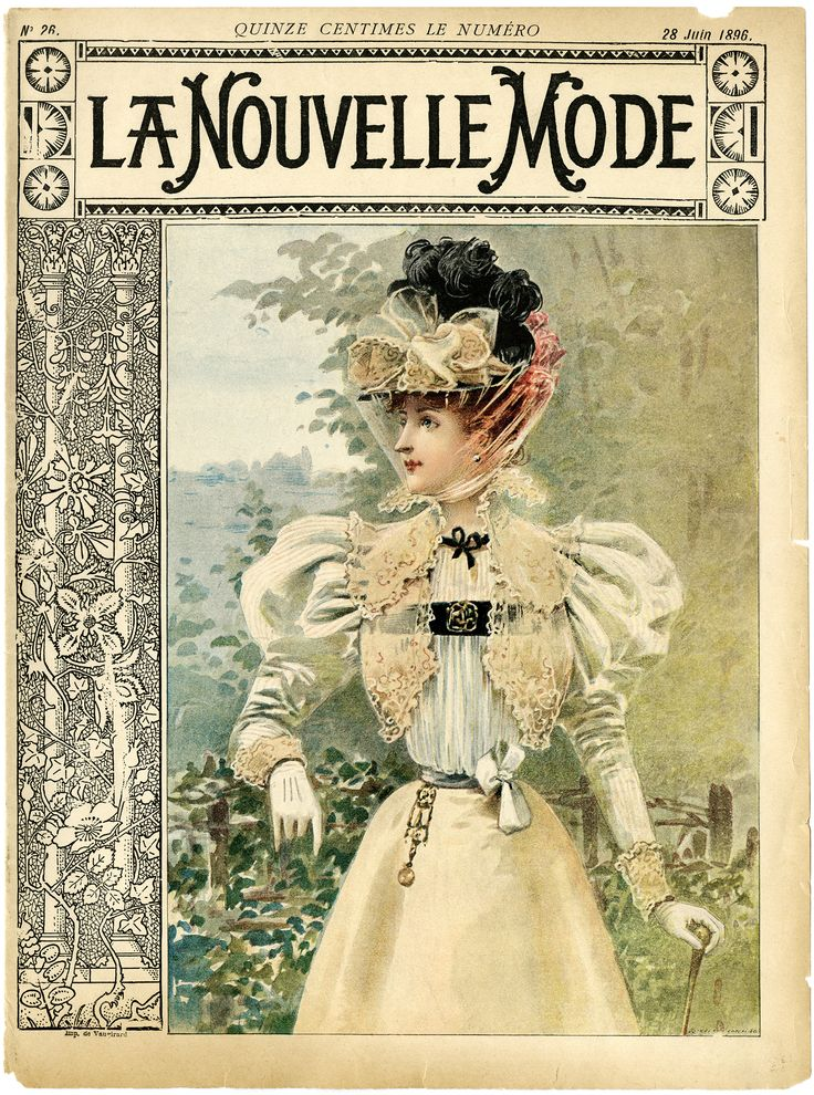 french ephemera | vintage French fashion, la nouvelle mode, magazine cover, 1900 dress ...