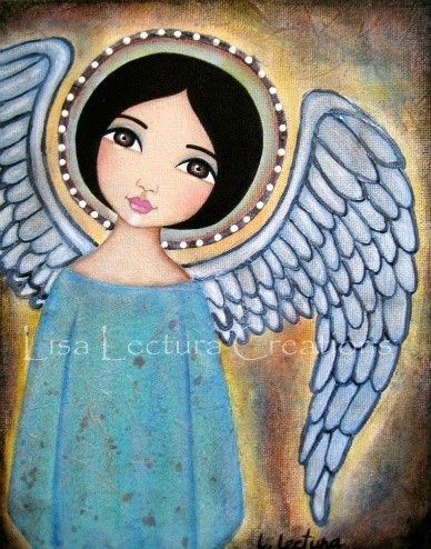 Glow Folk Art Angel 5x7 Print by Lisa Lectura by lisalectura, $15.00