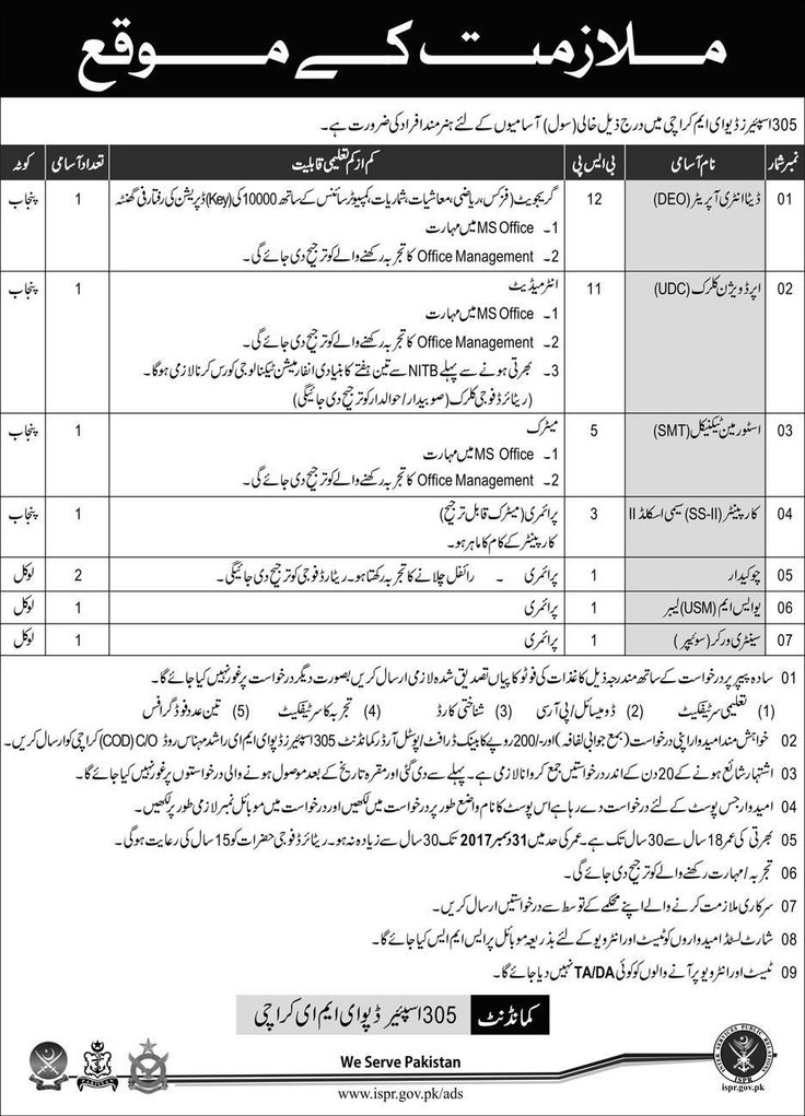 Pakistan Army 305 Spare Deput Jobs 2017 In Karachi For UDC And Data Entry Operator http://www.jobsfanda.com/pakistan-army-305-spare-deput-jobs-2017-karachi-udc-data-entry-operator/