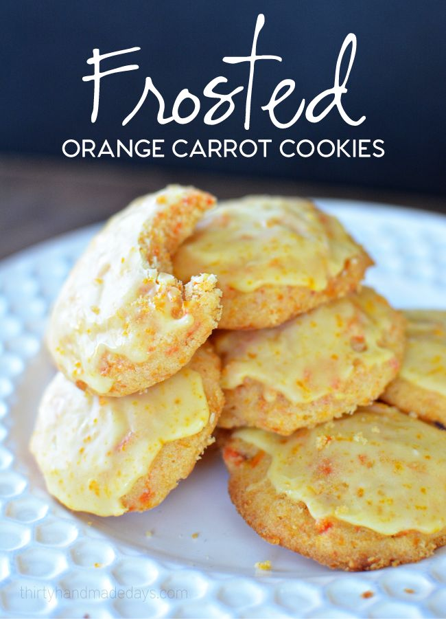 Frosted Orange Carrot Cookie recipe. Get this fun cookie recipe on www.thirtyhandmadedays.com   Makes a great neighbor gift idea.