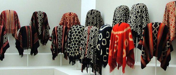 Ponchos lana de oveja, inspiracion pueblo mapuche.