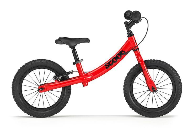 Duży rowerek biegowy Ridgeback Scoot XL w kolorze czerwonym posiada regulację siodełka od ok. 39-55 cm, regulację wysokości kierownicy, kierownica bez blokady skrętu, pompowane opony 14 cali, hamulec tylnego koła typu v-brake.