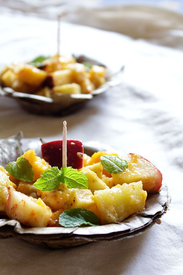 fruit chaat: delhi fruit chaat recipe. the fruit chaat which is a popular street food in north india & pakistan has tuber roots along with the fruits - mainly potatoes and sweet potatoes - cooked my friend, not raw.