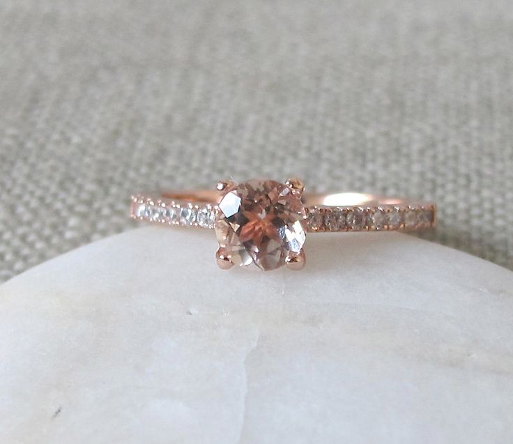 Solitaire Morganite Ring- Promise Ring for Her- Rose Gold Morganite Ring- Classic Engagement Ring- Rings for Her- Stone Ring by Belesas on Etsy https://www.etsy.com/listing/253205001/solitaire-morganite-ring-promise-ring