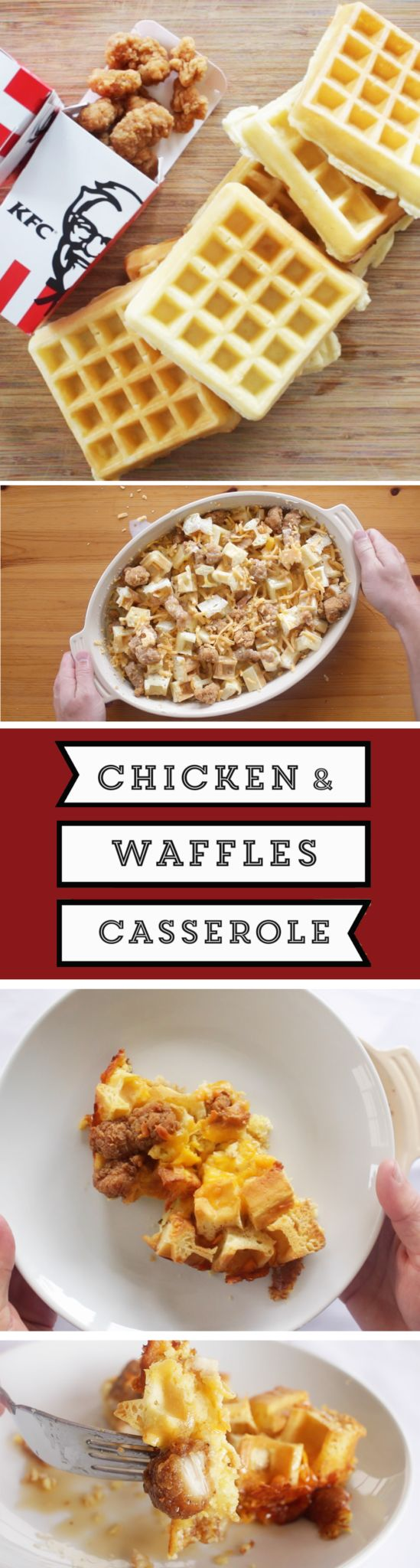 WOW... just wow! If you haven't tried it... don't SLAM it... It's SURPRISINGLY very good!  @kfccolonel Chicken & Waffle Casserole --->