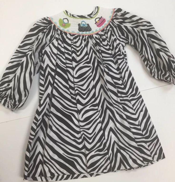 Marmellata 3T Smocked Zebra Striped Dress With Purses Black White  | eBay
