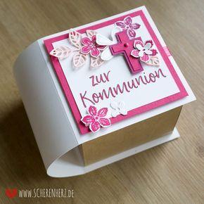 Explosionsbuch - Kommunionsbox in Pink Stampin'Up Produkte verwendet (Farben Wassermelone, Sommerbeere, Kirschblüte, Flüsterweiß und Kraft Karton) www.scherenherz.de