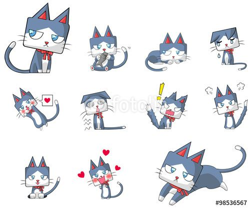 Vector cartoon kitten cat character mascot with ribbon collar icon action and expression collection set