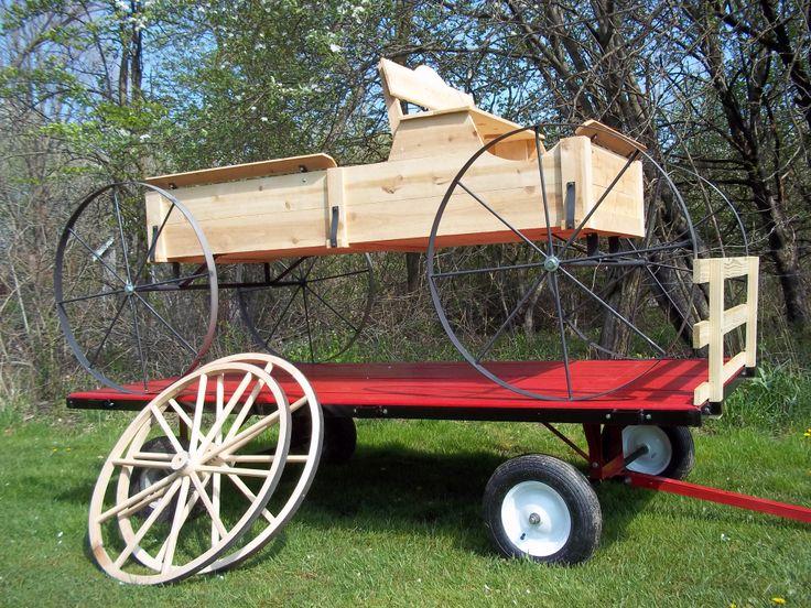 8' Cedar Buckboard Wagon on a Mini 8' Hay wagon built by www.wmconstr.com