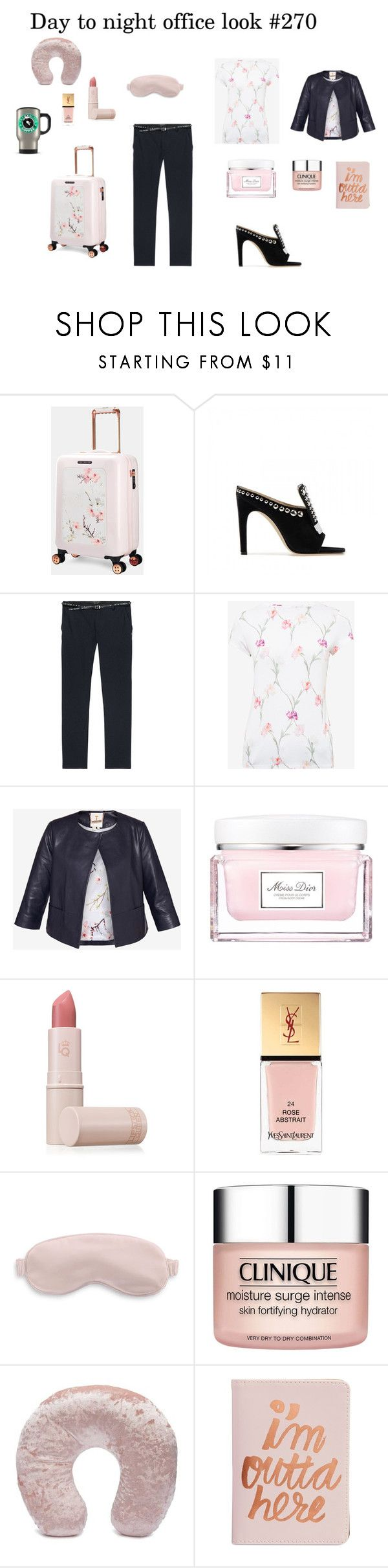 """""""Day to night office look #270"""" by modaelista ❤ liked on Polyvore featuring Ted Baker, Christian Dior, Lipstick Queen, Yves Saint Laurent, Slip, Clinique, Forever 21 and ban.do"""