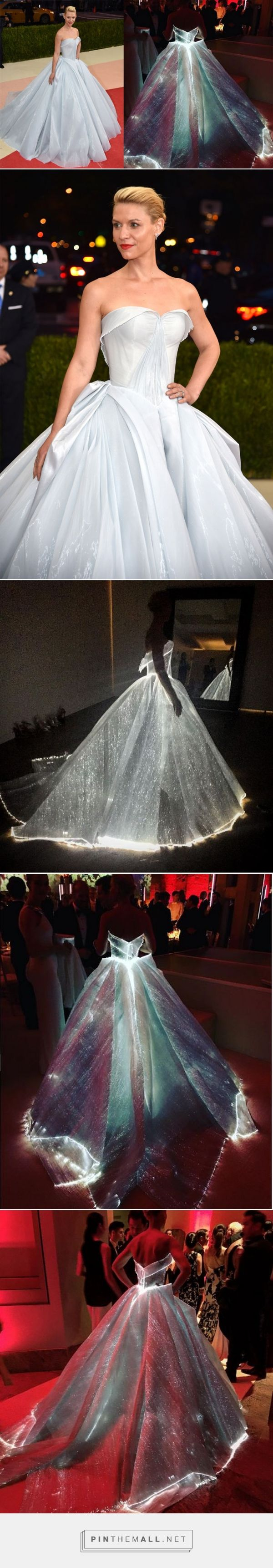 Claire Danes | The 37-yr-old donned a custom Cinderella-style Zac Posen gown that actually lit up all along the skirt & bust, w/ the help of a weighty 30 battery packs. The large number of mini battery packs were intricately sewn into the fibre optic organza dress to make the garment glow in the dark.