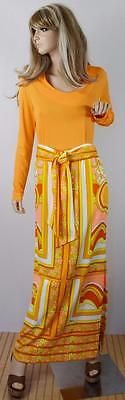 Vtg-1960-039-s-Mr-DiNo-MOD-PsYcHeDeLiC-2-Pc-MaXi-SKiRt-amp-BLouSe-Outfit-Dress-M-L-14