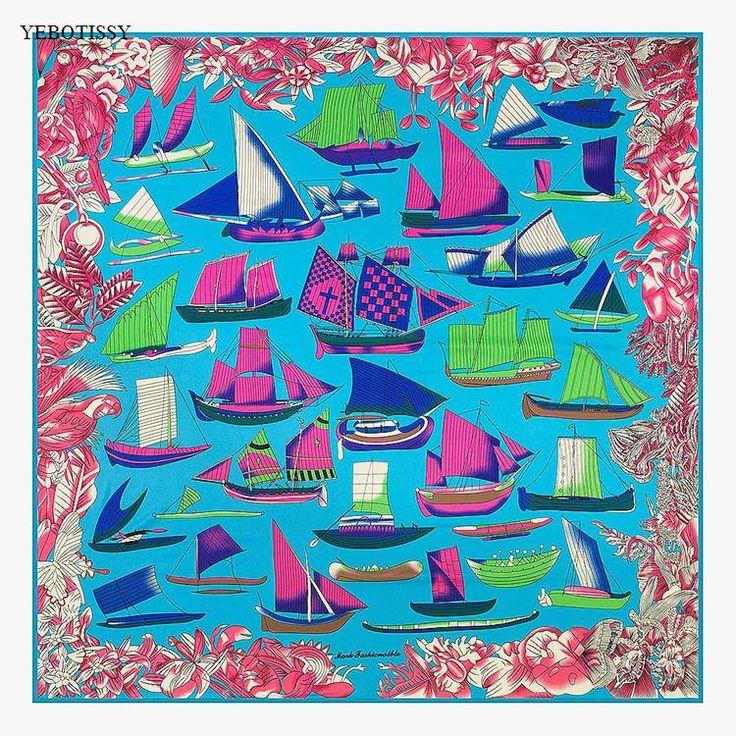 2017 new style 130cm 130cm summer beach scarfs women pashmina 2017 soft Colorful real silk scarves Female hijab wrap free ship #Affiliate