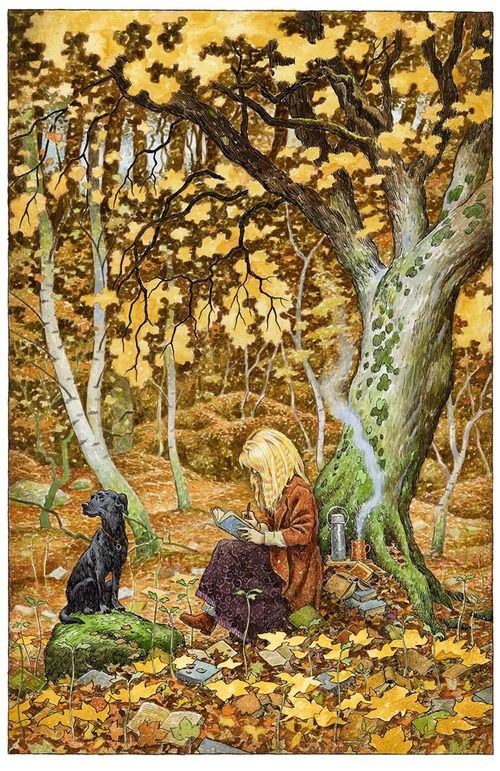 Terri Windling and TillyDavidwyatt, The Artists, Reading Book, Autumn, Black Dogs, Therapy Dogs, Illustration, David Wyatt, Words Wood