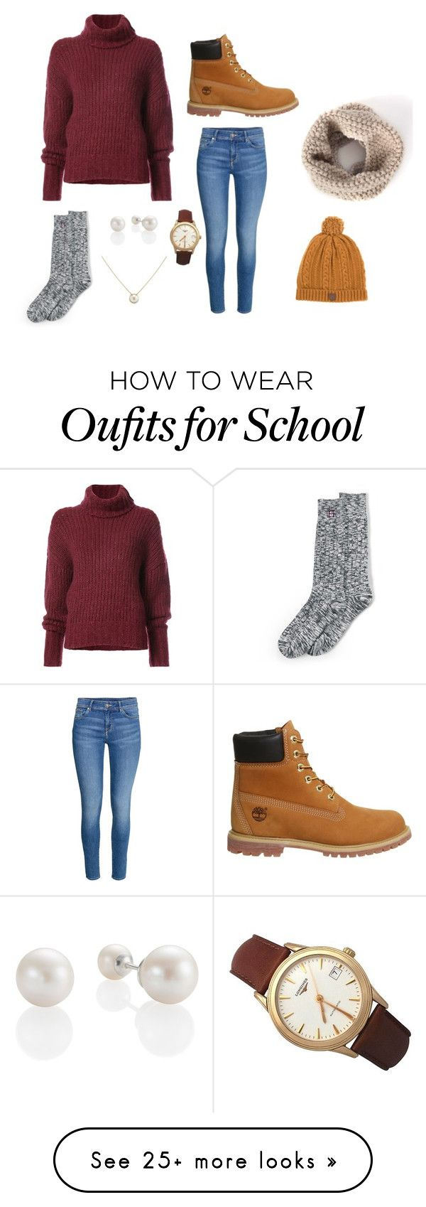 """School Day"" by reganlynn3002 on Polyvore featuring BY. Bonnie Young, H&M, Timberland, Lands' End, DUBARRY, Longines and Cartier"