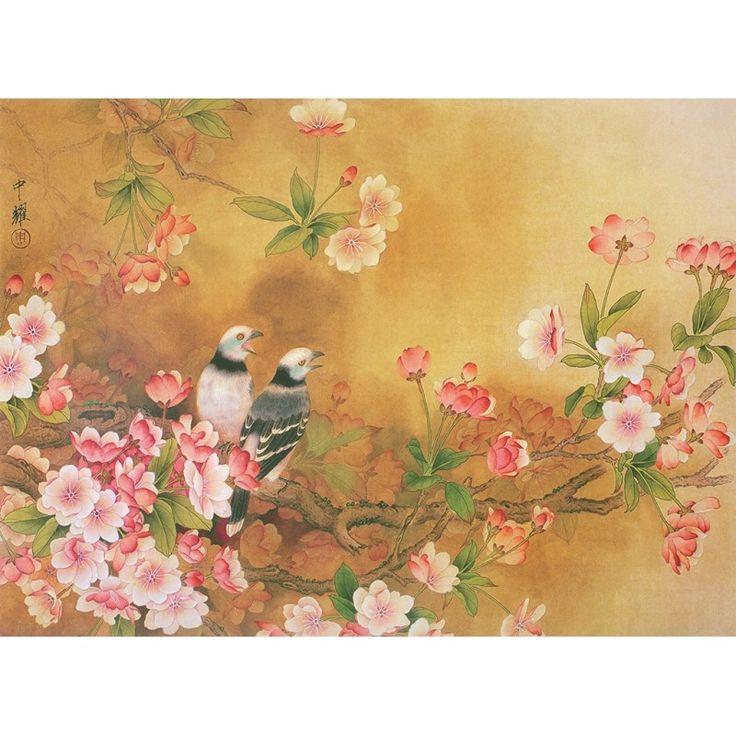 papier peint asiatique les fleurs de cerisier et les oiseaux aspect ancien chinoiserie. Black Bedroom Furniture Sets. Home Design Ideas