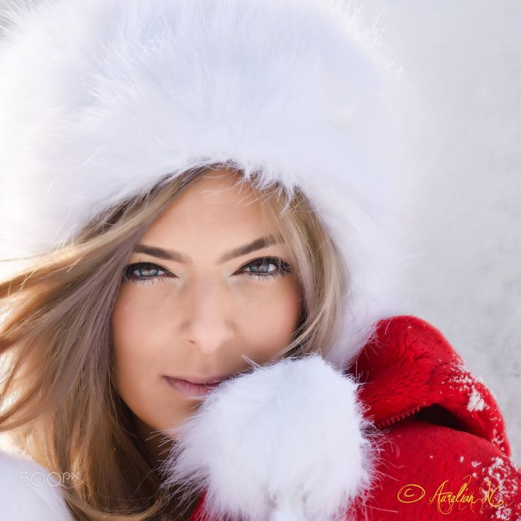 "Winter girl - Blonde with white fur hat and red coat closeup winter portrait!  Folow me on : <a href=""www.facebook.com/naurelianphoto"">Facebook</a> 