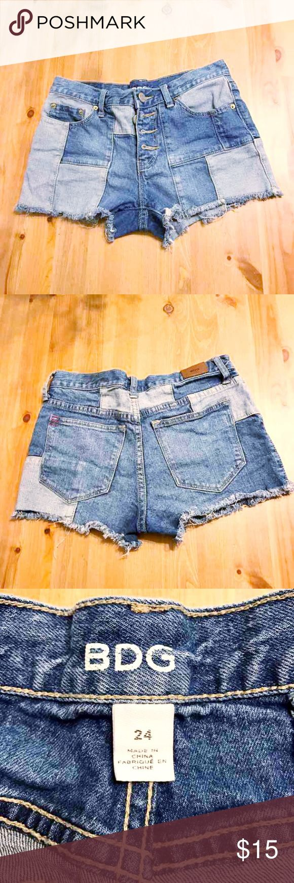 BDG cutoff jean shorts BDG denim patch cutoff jean shorts. Size 24 medium to high rise. Five pocket with button fly. Excellent condition BDG Shorts Jean Shorts