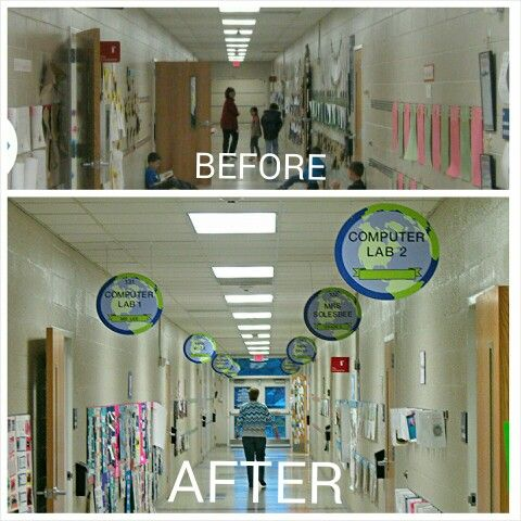 "Double-sided, Magnetic Hallway Signs by RoomTagz... ""The signs are unbelievable!!! It was amazing to see the hallways come alive throughout the day. They are just gorgeous. I think they have to be the best thing I've ever seen in a school."" ~ Kay K., Art Teacher at an International Baccalaureate ® school in Anderson, SC."