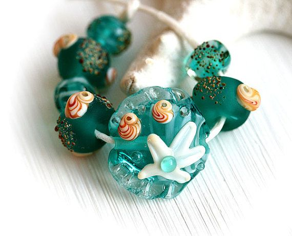 Teal Handmade Lampwork beads, Beach beads set, Teal glass beads by MayaHoney  #forsale #etsy #glass #handmade #homemade #shopping #handcrafted #jewelrymaking #lampwork #mayahoney #beads #beach #shells #seaglass