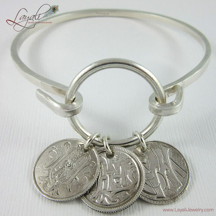 Sterling Silver Love Token Bracelet with Antique Tokens $160.00 at LayaliJewelry.com