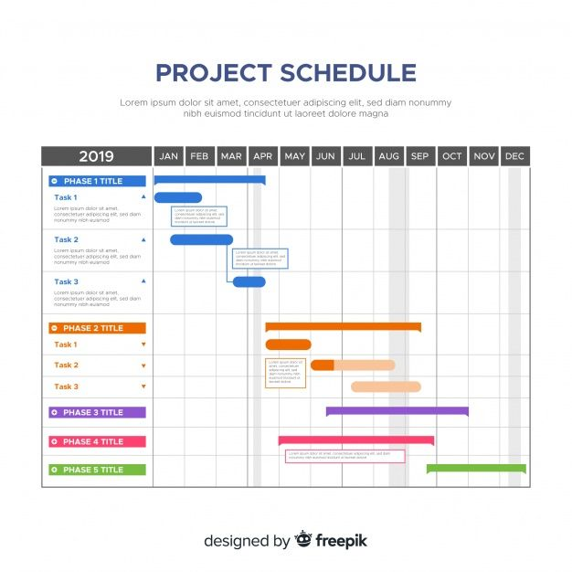 Download Colorful Project Schedule Template With Flat Design For Free Schedule Design Schedule Template Timeline Design