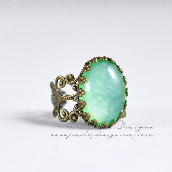 Anello di menta, menta anello verde, stile Vintage filigrana vittoriano bronzo antico anello regolabile, resina anello nozze sposa damigelle regalo