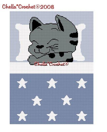 INSTANT DOWNLOAD Chella Crochet Sleeping Kitty Cat with Stars Blanket Boy Blue Afghan Crochet Pattern Graph Chart .PDF