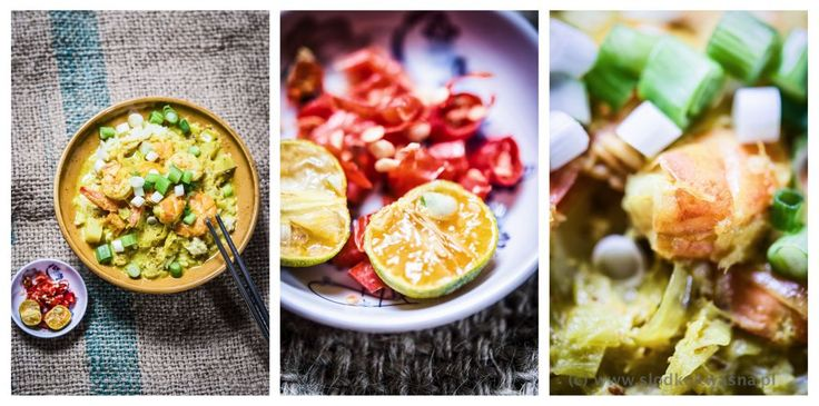 Żółte curry z krewetka, słodkim ziemniakiem, kalarepa i porem