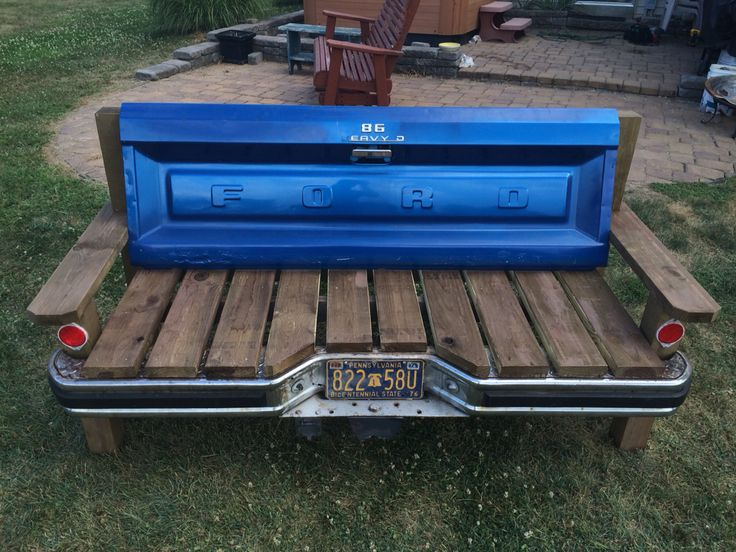 1986 Ford F-150 Tailgate bench complete with bumper and license plate built for around $200 (Price may vary depending on sources of materials) Great weekend project, only took me and my dad about 8 hours to build!