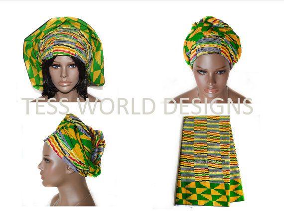 Kente afrikanischen Headwrap, afrikanische Kopf binden, afrikanische Kopftuch, Rasta Kopf wickeln, Kopftuch, HT07