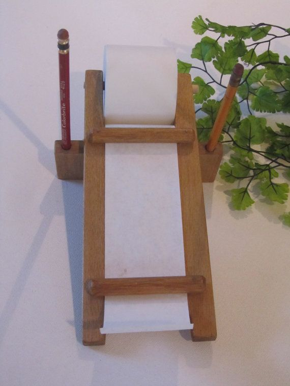 Vintage Wood Roll Paper Receipt Note Dispenser for the by kchoos