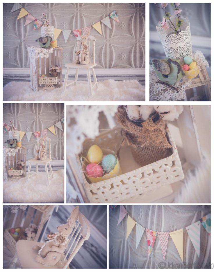 Easter minis set-up, shabby chic