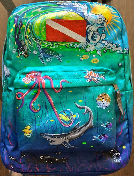 Under the Sea hand-painted backpack by Artstravaganza on Etsy