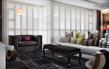 Industrial elegance, crisp white shutters provide horizontal bands if varied intensity light. Follow the link to see the full photo-story including this design element: https://www.facebook.com/media/set/?set=a.588815421169109.1073741828.588811231169528&type=1