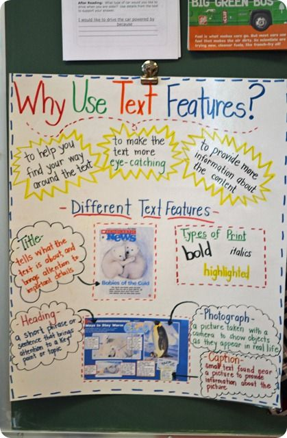 Text features anchor chart. Posted in the classroom it would be a good reminder to ask prompting print concept questions.