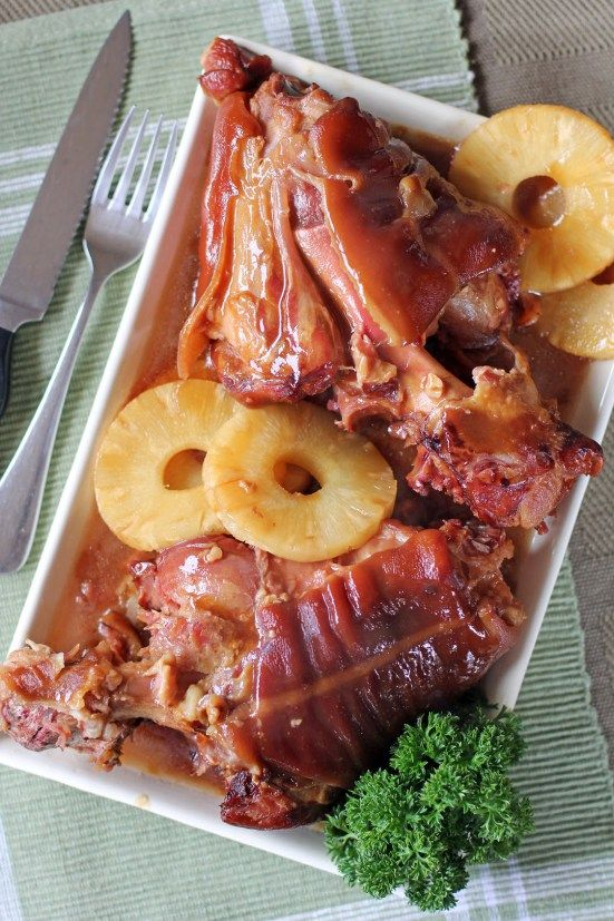 Pata hamonado or Sticky Sweet Pork Hock is a type of stew where pork hocks are slowly braised in a soy sauce and pineapple juice base infused with lots of garlic. It might look similar to another Filipino dish called Patatim but this dish have a hint of freshness and tang due to the use of pineapple juice in the simmering process.