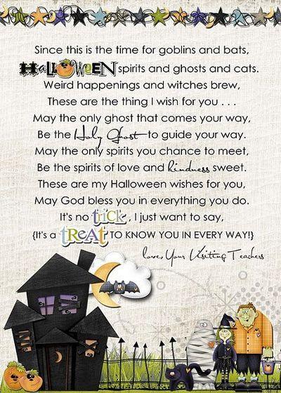 Halloween Visiting Teaching message