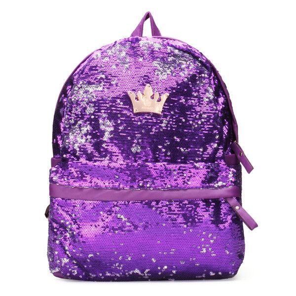 Crown Sequin Women Girls Backpack Paillette Schoolbag