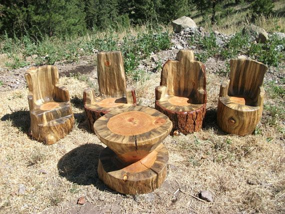 Kids' log chairs and table #sweetlogs #etsy