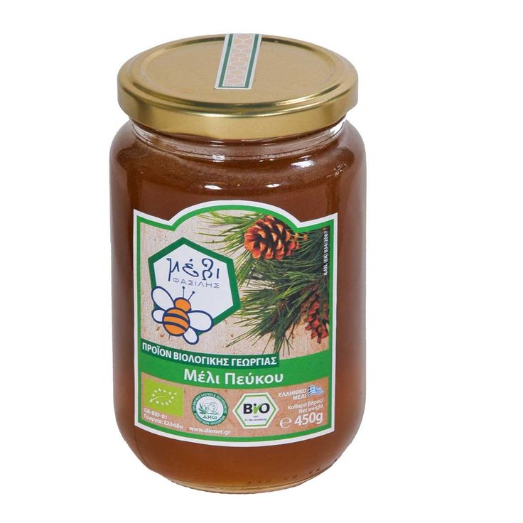 "Organic Pine Honey 450gr from the pine forests in Arcadia and Eboea The organic Pine Honey ""FASILIS"" is collected in the pine forests of Arcadia in Peloponnese and in Eboea at an altitude ranging from 800m-1300m during Spring (April-May) and Autumn (September-October).   The spring pine honey is lighter (as far as concerns its color), clearer and more aromatic than the honey that is produced in autumn. The pine honey crystallizes slowly enough because of its low content in glucose (>18…"