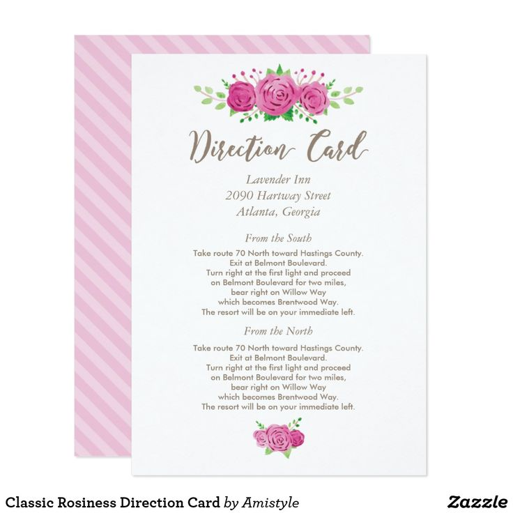 Classic Rosiness Direction Card with watercolor floral design - Wedding stationery by Amistyle Digital Art on Zazzle