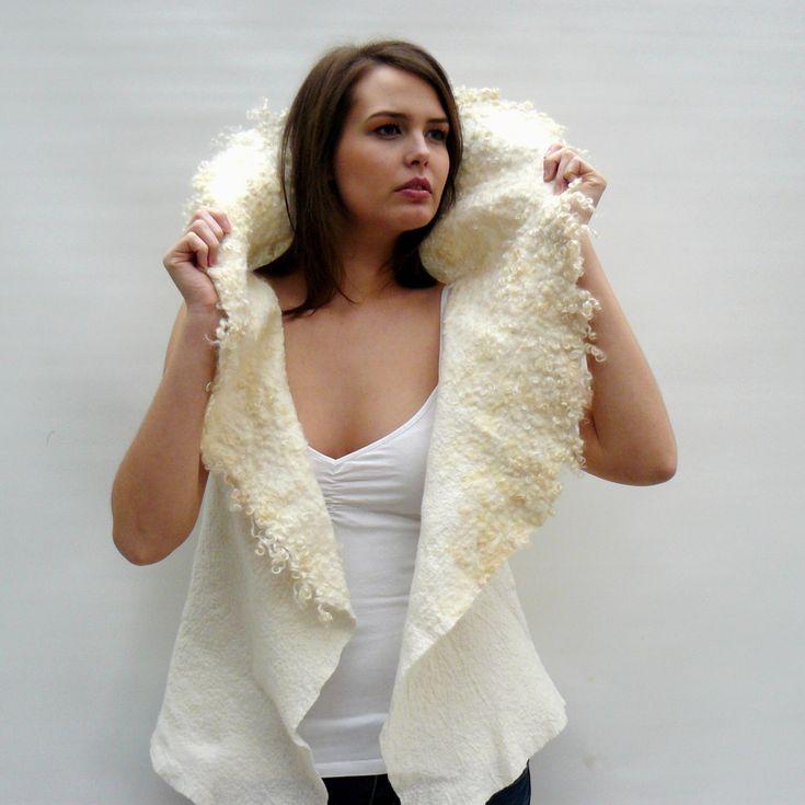 Felt vest, felted wool vest white by MajorLaura on Etsy https://www.etsy.com/listing/459872624/felt-vest-felted-wool-vest-white