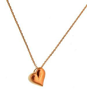 Handmade silver heart necklace, made of pink gold plated silver 925o thin chain and heart pendant - Χειροποίητο ασημένιο κολιέ με λεπτή αλυσίδα από ροζ επιχρυσωμένο ασήμι 925ο και μενταγιόν καρδιά