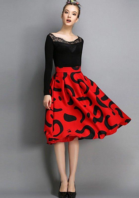 Roter Blumendruck Plissee Ausgestelltes Klassiker mit hoher Taille und knielangen Audrey Hepburn Stil Retro-Rock-