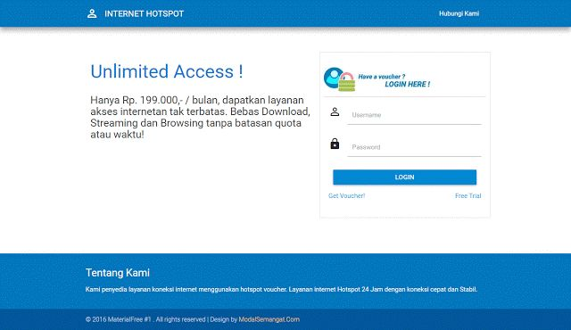 Download Gratis Template Login Page Hotspot MikroTik, Responsive (Desktop, Mobile, Tablet). Buat yang mau custom halaman login hotspotnya.