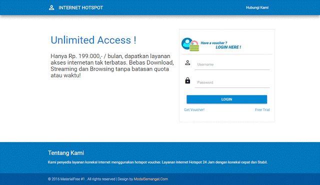 Download Gratis Template Login Page Hotspot MikroTik, Responsive (Desktop, Mobile, Tablet). Buat yang mau custom halaman login hotspotnya.